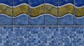 Sunset Beach with Mosaic Light Blue